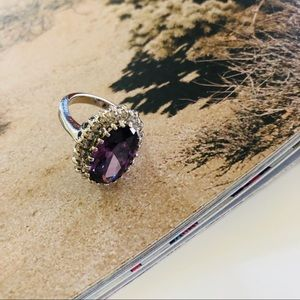 Vintage Silver & Purple Stone Crystal Diamond Ring